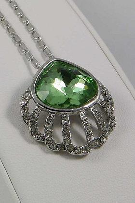 """Antonina""Silver Tone Green Crystal Pendant"