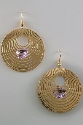 """Liviana"" Swirl Round 18 YKG Lavender Swarovski Crystal Earrings"