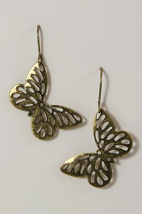 """Dulce"" Butterfly Antique Gold Tone Earrings"