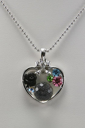 """""""Dulina""""White Gold Plated Crystal & Black Flower"""