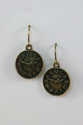 """Roma"" Antique Gold Tone Roman Clock Earrings"