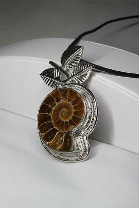"""""""Deena"""" Solid Sterling Silver Fossil Pendant"""