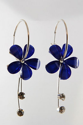 """Soyala"" Blue Ribbons Flower Dangle Hoop Earrings"