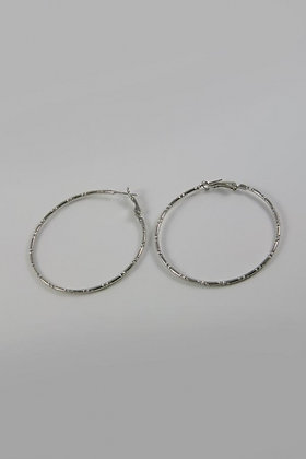"""""""Lacy"""" Large Silver Tone Hoop Earring"""