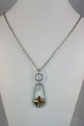 """Vivi""Brown Pyramid Glass & Crystal Pendant"