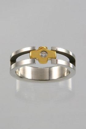 """Hewett"" Titanium Silver & Gold Crystal Ring"