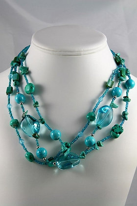 """Janice""Natural Turquoise & Glass Ball Necklace"