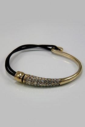 """Evonett"" Goldtone Metal & PU Crystal Bracelet"