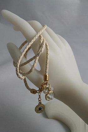 """Jessie""Crystal Center Leather Wrap Bracelet"