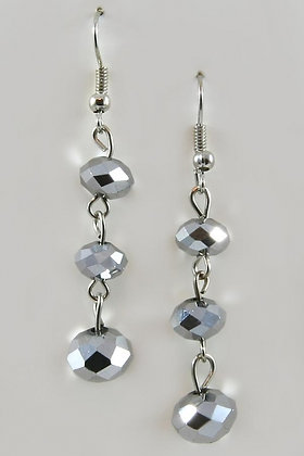 """Evita"" Silver Tone Facet Crystal Dangle Earrings"