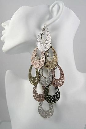 """""""Natalia"""" Super Long Metal Cascade Earrings"""