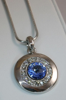 """Dominique""White Gold Clear & Blue Crystal Pendant"