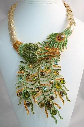 OSHUN Orisha Crystal Peacock Wrap Necklace