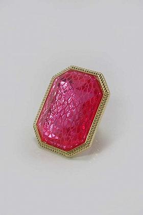 """Damaly' Large Mesh Pink Glass Stone Stretch Ring"
