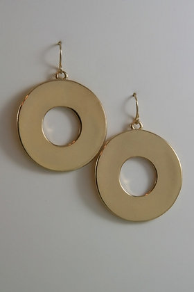 """""""Ciara"""" Gold Tinted Hook Round Earrings"""