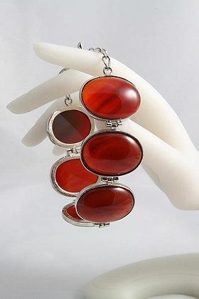"""""""Valentina"""".925 SS Oval Carnelian Link Bracelet"""