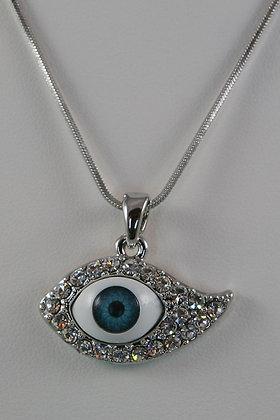 """""""Evil Eye"""" White Gold Plated Pendant"""