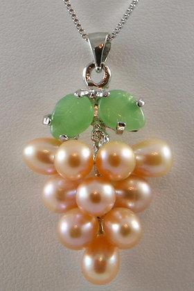 """""""Della"""" Pink Pearl & Green Jade Grape Pendant"""