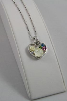 """Elisea"" White Golg Crystal Heart Pendant"