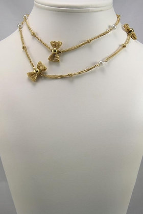 """""""Severa"""" 18K YGP Bow & Pearls Necklace"""