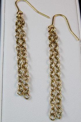 """Hilta""Metal Gold Tone Chain Earrings"