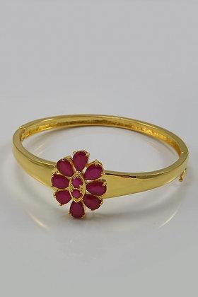 """Jareen"" 24K Yellow Gold Plated Ruby Bracelet"