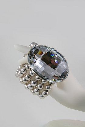 """Holly""Large Facet Glass Metal Ball Stretch Link Bracelet"
