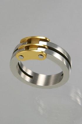 """Everett""Titanium Silver & Gold Ring"
