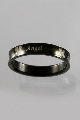 """Black Angel""Black Titanium Engraved Band Ring"