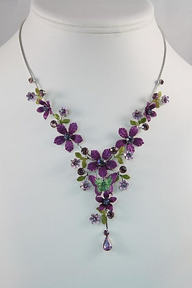 """Nadia"" Hand-Painted Czech Crystal Necklace"