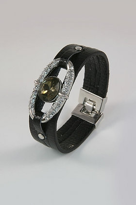"""Giata"" Metal & Leather Oval Facet Glass Bracelet"