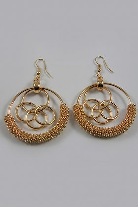 """Rima G"" Circle Gold Tone Twisted Dangle Earrings"