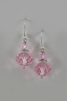 """Grays"" Pink Swarovski Crystal Bead Sterling Silver Earring"