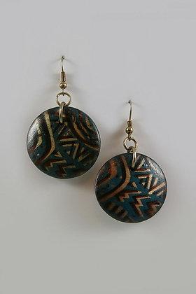 """Kewana"" Hand Made Wooden Disk Earrings"