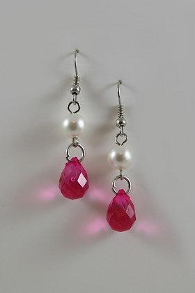 Pink Facet Bead With Pearl Hook Earrings
