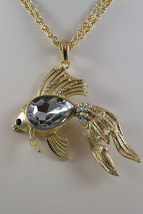 """Aniston""Gold Tone Clear Crystal Large Fish 30""L"