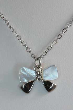 """""""Bowie"""" WG Mother Of Pearl & Crystal Pendant"""