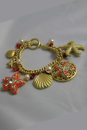 """Erin"" Crystal Deco Sea Life Charm Bracelet"