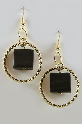 """Onie"" 14KY Gold Black Square Stone Circular Drop Earrings"