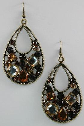 """Akkivia"" Brown Multi-Crystal Deco Teardrop Earrin"