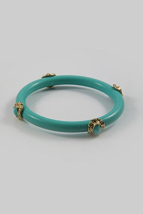"""Amelia Blue ""Metal Accent Blue Acrylic Bangle Bracelet"