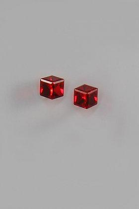 """Alloetta"" Red Swarovski Crystal Cubed Stud Earrin"