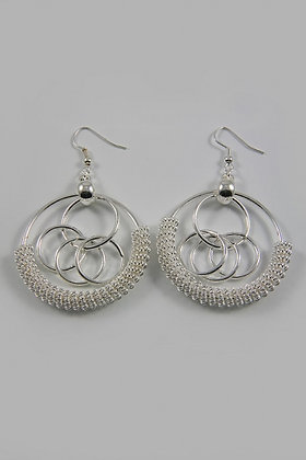 """Rima S"" Circle Twisted Silver Tone Dangle Earrings"