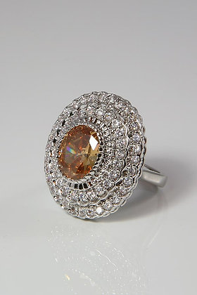 """Gertruda""14KWGP .925 SS Morganaite Ring"