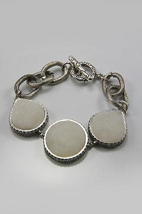 """Eilana"" Rough Surface Stone Disk Link Bracelet"