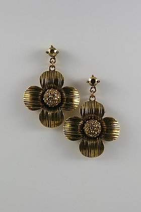 Antique Gold Tone Crystal Ball Flower Earrings