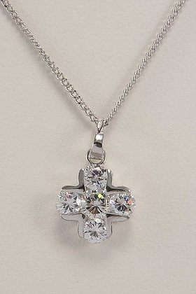 """Hollia"" Rhodium Plated Cross Pendant"