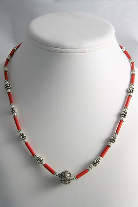 """Chana"" Red Coral Tibetan Silver Necklace"