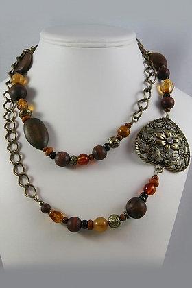 """Bernice"" Filigree Heart Wood & Glass Necklace"
