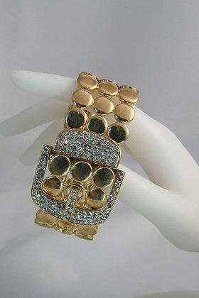"""""""Paige"""" Gold Tone Belt & Crystal Buckle Bracelet"""